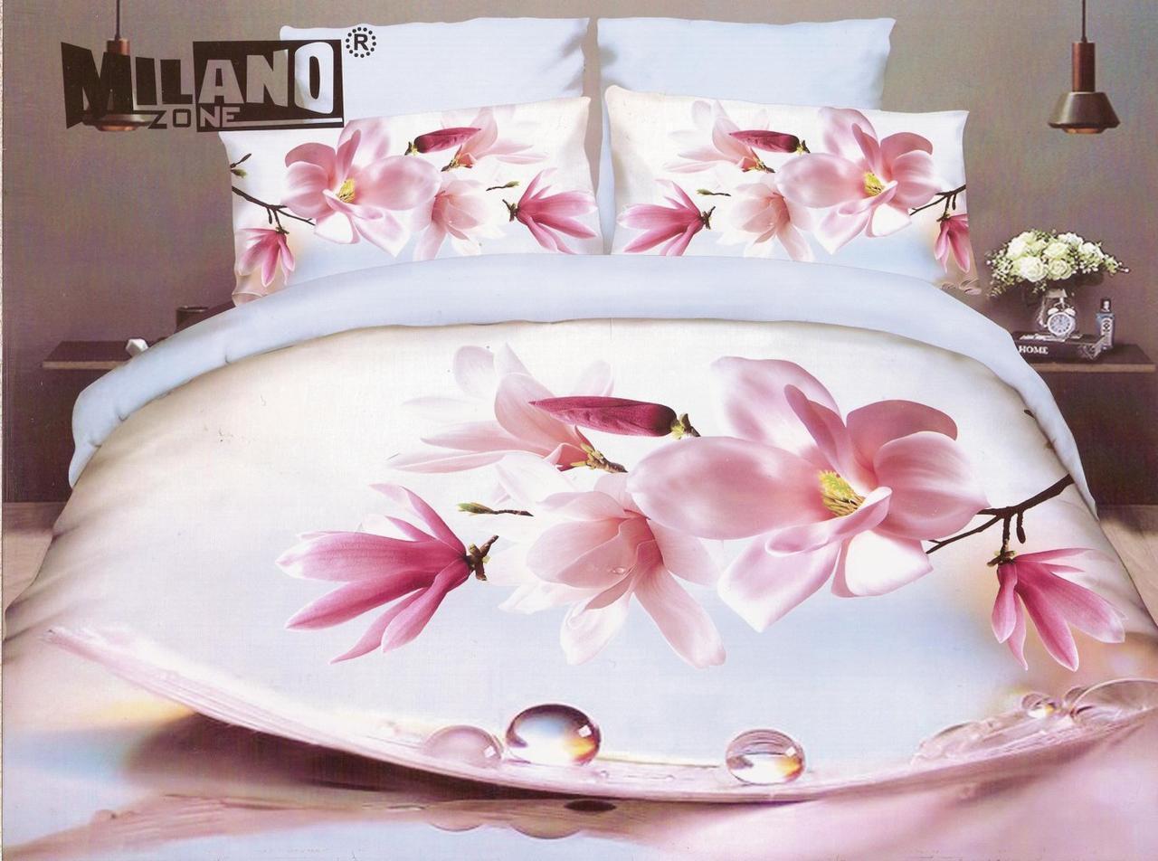 3D Постельное белье Milano Zone  рисунок орхидея (двухспалка)