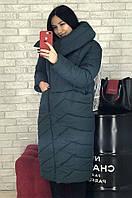 Куртка оверсайз длинная женская темно-зеленая размер 44