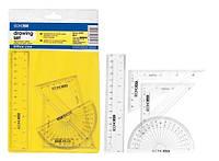 Набор геометрический (2 треугольник, транспортира, линейка, линейка 20 см) Е81304-1002
