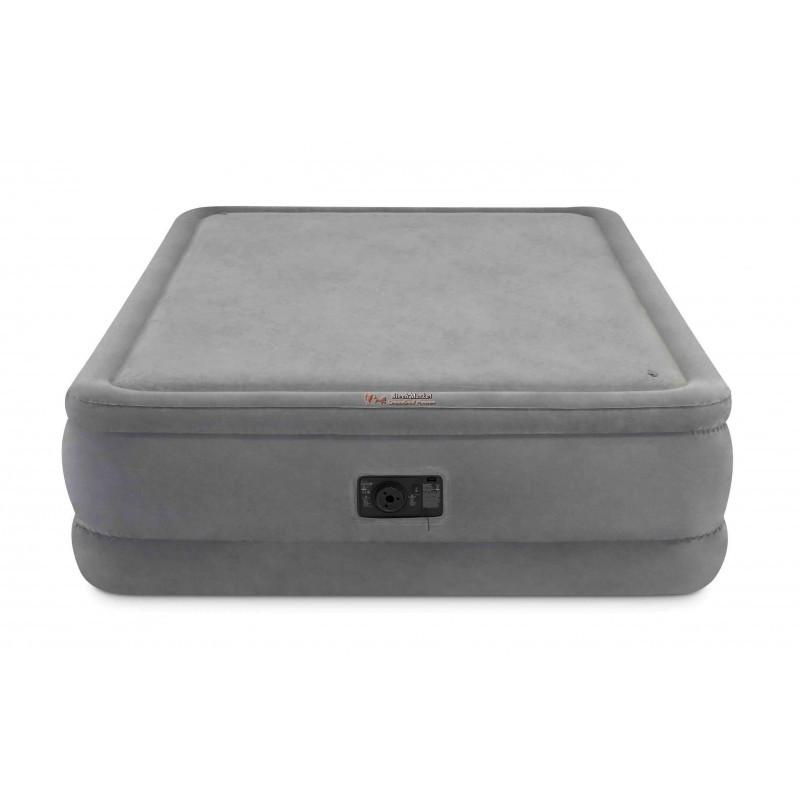 Двуспальная надувная кровать Intex 64470 203х152х51 см велюровая со встроенным насосом 220V/В