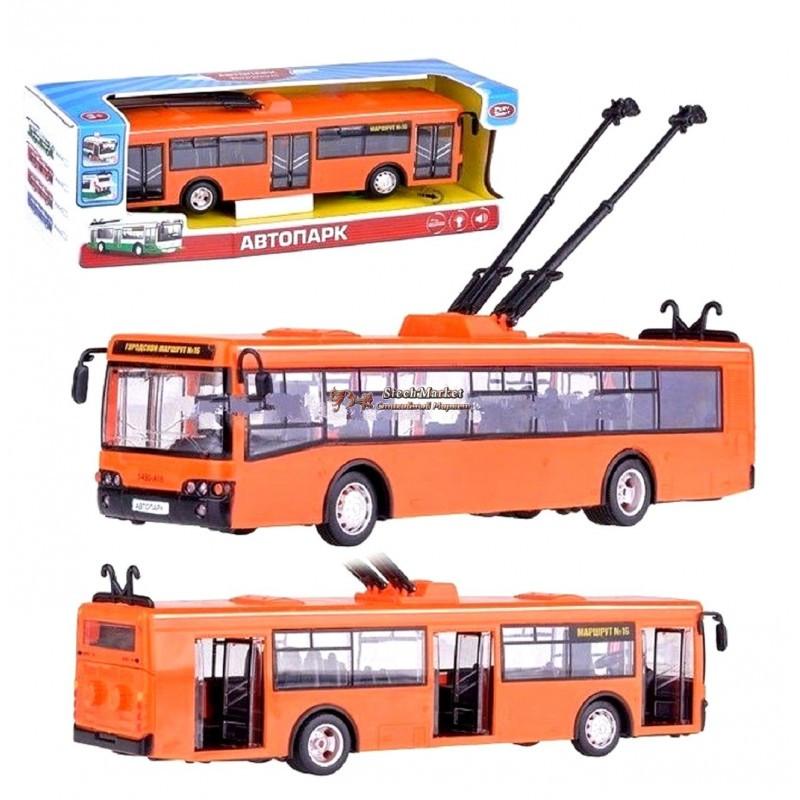 Троллейбус 9690B красный 1:43 28 см