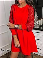 Очень красивое платье из креп дайвинга с французским кружевом, глубоким вырезом  (42-46), фото 1