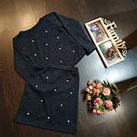 Детский костюм  кофта с юбкой  с жемчугом для девочки 6-10