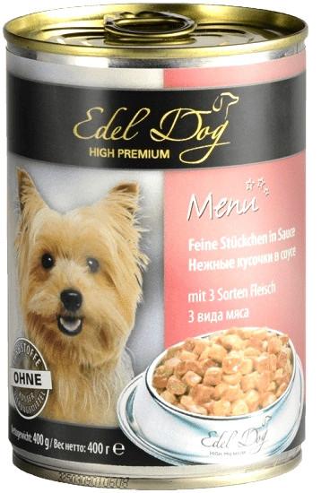 Консерви для собак Edel Dog з трьома видами м'яса 400 г
