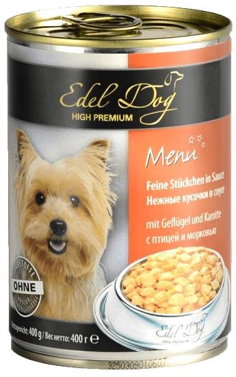Консервы для собак Edel Dog с птицей и морковью 400 г