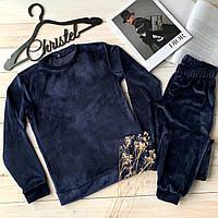 Костюм женский велюровый свитшот+штаны, фото 1