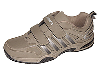 Мужские кроссовки Bona кожаные на липучках хаки, размеры в наличии ► [ 43 44 46 ]