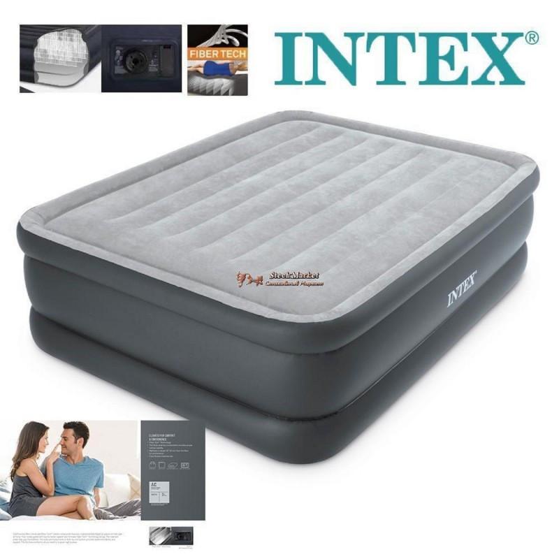 Двуспальная надувная кровать Intex 64140 203х152х51 см велюровая со встроенным насосом 220V/В