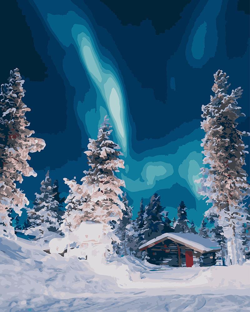 """Картина по номерам. Brushme """"Полярное сияние в лесу"""" GX26245"""
