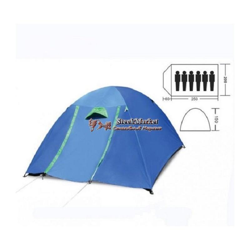 Палатка кемпинговая шестиместная с тентом и коридором SY-017