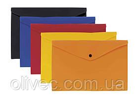"""Папка-конверт А4 непрозрачная на кнопке """"Economix"""", 180 мкм., фактура """"апельсин"""", ассорти"""