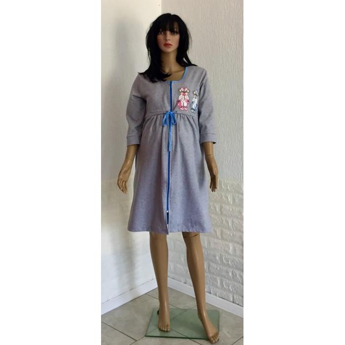 Ночная сорочка с теплым халатом разных цветов для беременных и кормящих мам 44-52 р