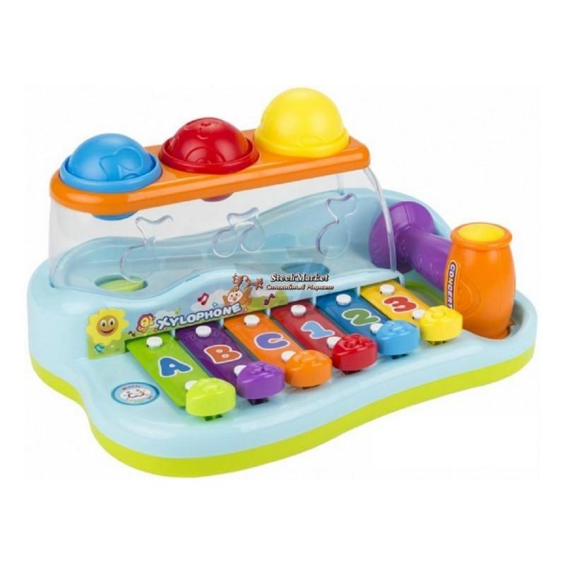 Развивающий ксилофон с молоточком и разноцветными шариками HOLA
