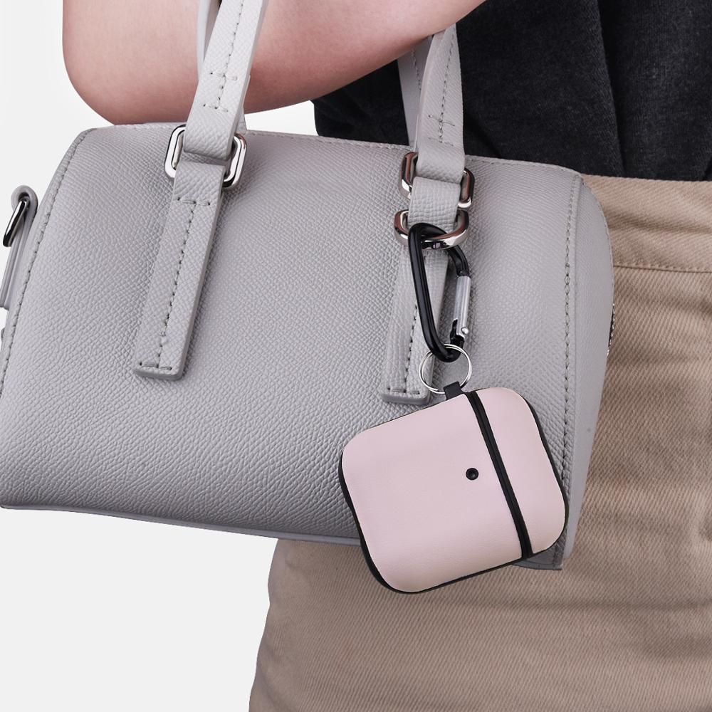 Противоударный чехол для Airpods Apple Кожа розовый