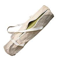 Сумка-чехол для йога и фитнес коврика Eco, бежевый с белой молнией и ручками, Foyo