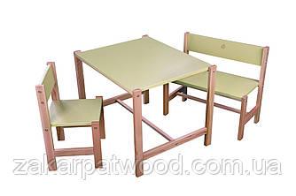 Набір дитячих меблів з дерева S1-Z (колір зелений)