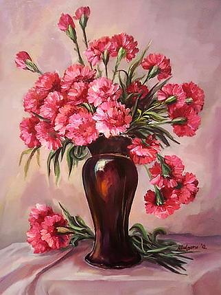 КДИ-0861 Набор алмазной вышивки Букет розовых гвоздик, фото 2