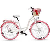Женский городской велосипед Goetze  28 COLOURS  белый розовые колеса