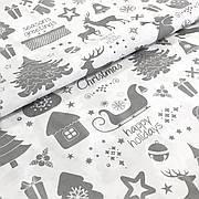 """Польская хлопковая ткань """"Олени, елки, снежинки серые на белом"""""""