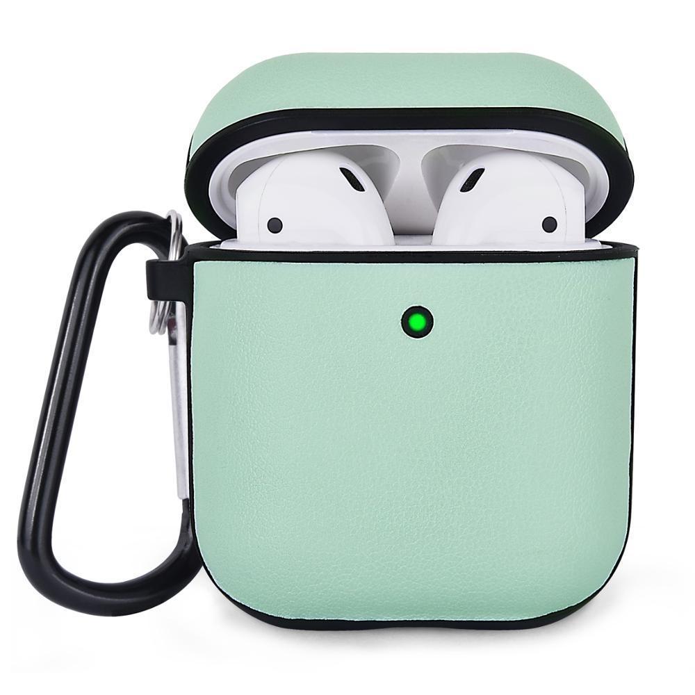 Противоударный чехол для Airpods Apple Кожа зеленый