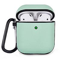 Противоударный чехол для Airpods Apple Кожа зеленый, фото 1