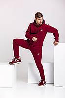 Зимний спортивный костюм New Balance, мужской, бордовый, трехнитка на флисе, код MG-2108.