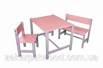 Набір дитячих меблів з дерева S1-R (колір рожевий)