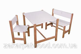 Набір дитячих меблів з дерева S1-B2 (колір білий)