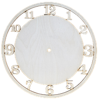 Основа для часов из фанеры 4 мм № 3 Круглая с арабскими цифрами d = 30 см AS-4552, В-0163