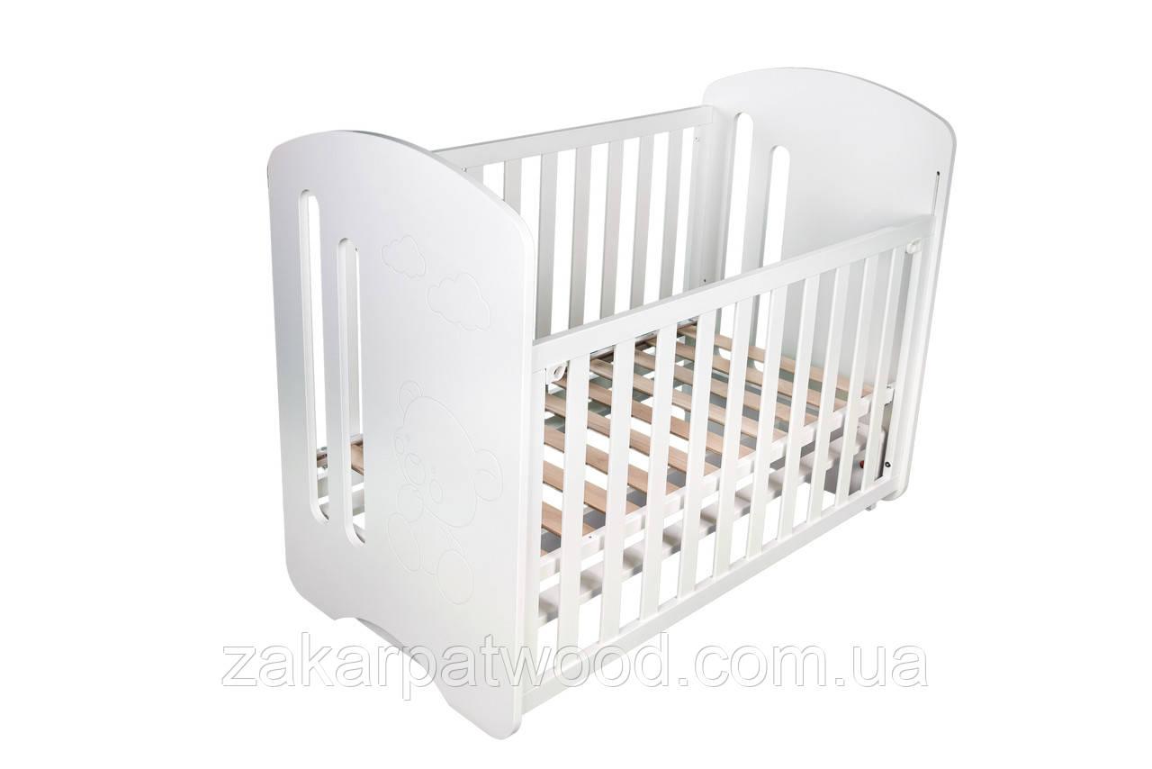 Ліжко дитяче з дерева 1200 х 600мм К1-М (колір білий)