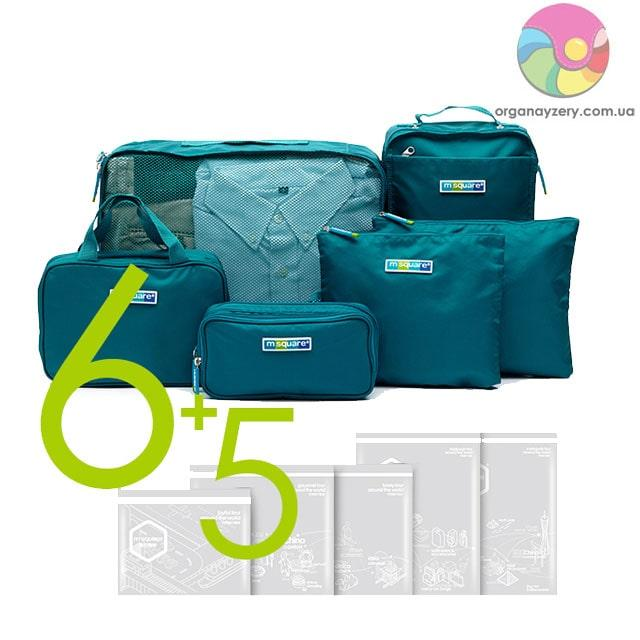 Набір органайзерів у валізу (6 шт) (бірюзовий)