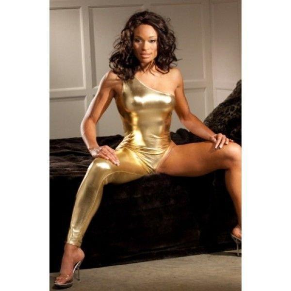 Виниловый костюм с одной штаниной - Золотой