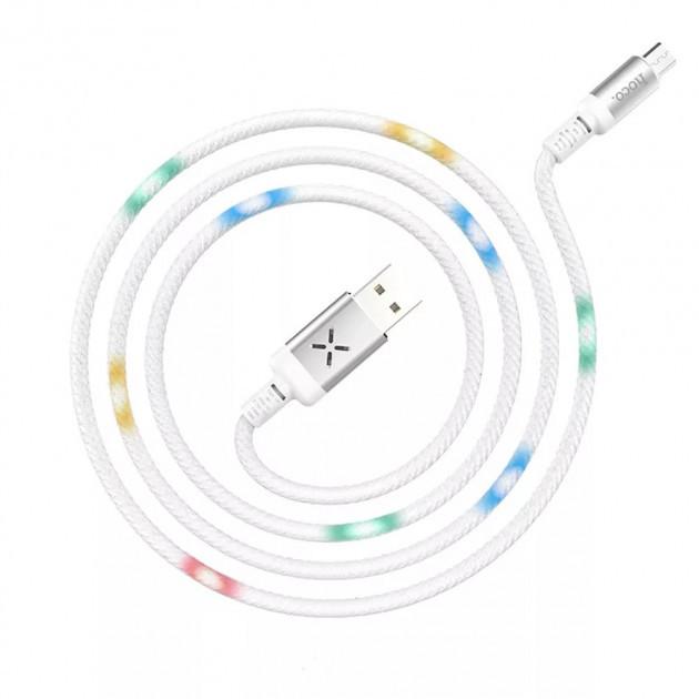 Кабель Hoco U63 Micro USB со звуковым сенсором и Led подсветкой 1.2 м/2,4А. Кабель Hoco Led Voice Control U63