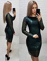 Нарядное женское платье с пайетками зеленое арт 184