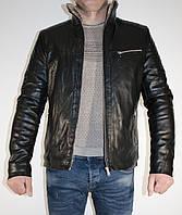 Мужская стильная куртка кожзаменитель  прямая зимняя на меху