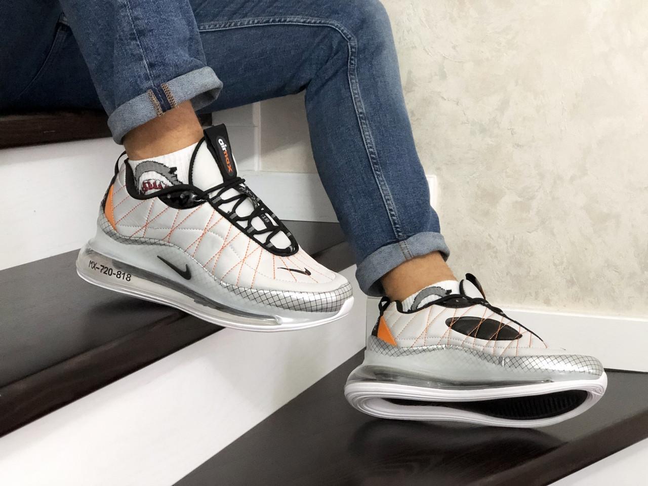 Мужские кроссовки Nike Air Max 720 (светло-серые с оранжевым) - термо