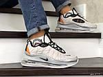 Мужские кроссовки Nike Air Max 720 (светло-серые с оранжевым) - термо, фото 3