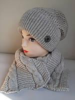 Зимние женские комплекты шапка и шарф.