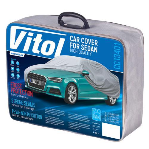 Тент автомобільний з підкладкою Vitol CC13401 L Сірий/482х178х119