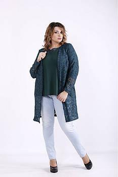 ❤/ Размер 42-74 / Зеленый комплект: блузка и жакет 01283 / Больших размеров