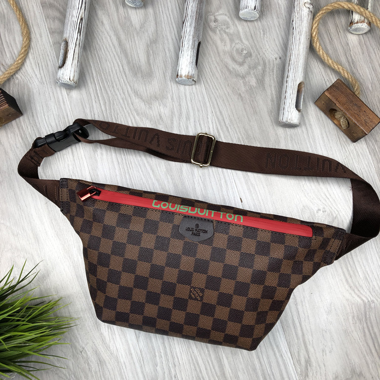 Стильная Женская бананка Louis Vuitton коричневая Турция Качество поясная сумка на пояс VIP Луи Виттон реплика