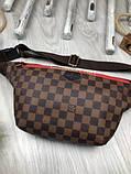 Стильная Женская бананка Louis Vuitton коричневая Турция Качество поясная сумка на пояс VIP Луи Виттон реплика, фото 3