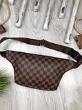 Стильная Женская бананка Louis Vuitton коричневая Турция Качество поясная сумка на пояс VIP Луи Виттон реплика, фото 4