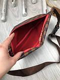 Стильная Женская бананка Louis Vuitton коричневая Турция Качество поясная сумка на пояс VIP Луи Виттон реплика, фото 6