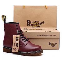 Женские зимние ботинки Dr. Martens 1460 (марсала)
