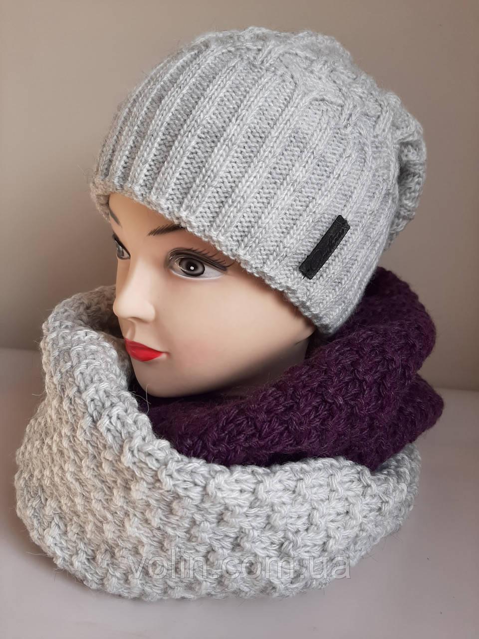 Зимние женские комплекты шапка и снуд .