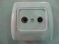 Розетка комбинированная ABB El-bi Tuna ТВ + радио конечная для внутреннего монтажа, белая, Турция