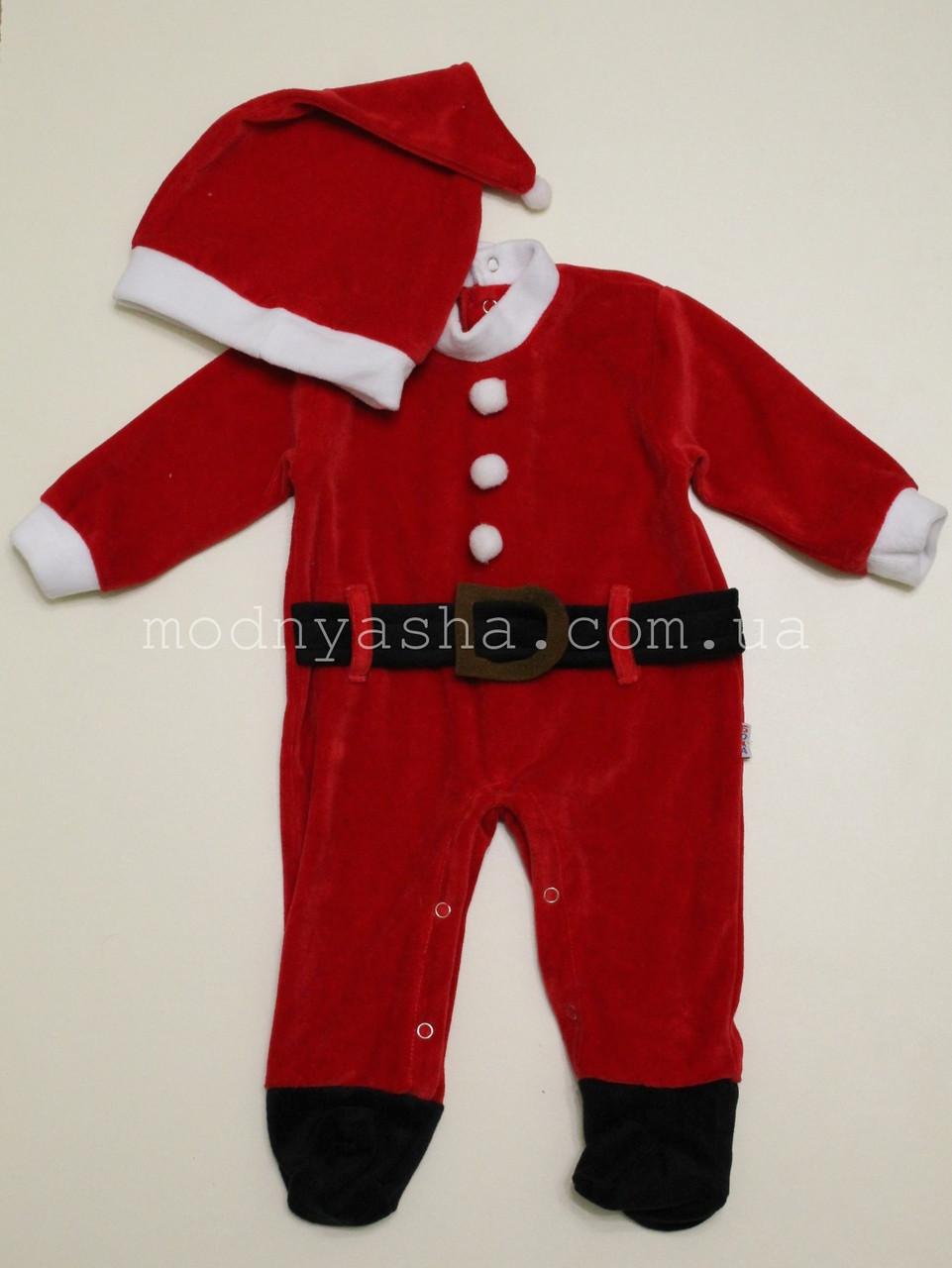 Костюм Новорічний чоловічок з шапочкою для хлопчика 62 розмір велюр