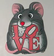 Панно «Мишка LOVE» (червоні літери)