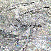 Трикотаж диско голограмма серебро на белом, фото 3